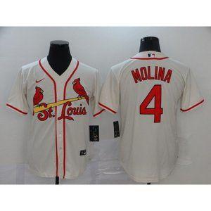 St. Louis Cardinals Yadier Molina Cream Jersey
